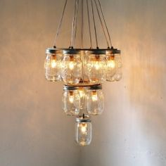 Amazing upcycled mason jar light fittings and chandeliers! (via Epheriell Designs)
