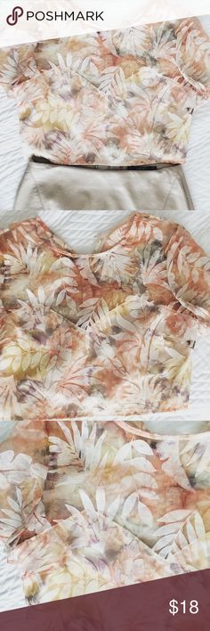 Floral crop top Whimsical NEW print crop top. Sheer on top with heart shaped lining, back zipper. Beautiful print, pairs great with any piece: pencil skirts, high rise shorts, your choice. Ready to ship to your closet  Tops Crop Tops