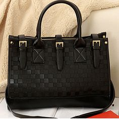 Elegante estilo coreano patrón de prueba de totalizador de las mujeres Erlen / One Shoulder Bag (Negro) – USD $ 8.99