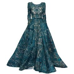 satinee.polyvore.com - Elie Saab Haute Couture ❤ liked on Polyvore featuring dresses, gowns, long dress, satinee, vestidos, couture dresses, long evening dresses, evening dresses, long blue dress and masquerade ball gowns