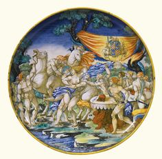 A large maiolica footed dish, attributed to the 'Painter of the Apollo Basin', indistinctly inscribed 'B/ 1[5]33' | lot | Sotheby's