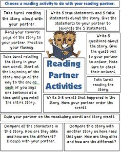 I have a fun reading resource for you! Book Talk is loaded with ideas to use for retelling stories, comprehending reading, and using b. Partner Reading, Reading Response, Reading Intervention, Reading Skills, Reading Homework, Reading Buddies, Reading Logs, Reading Groups, Reading Activities