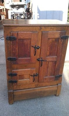 Antique Oak Ice Box, All Original