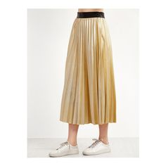 SheIn(sheinside) Golden Contrast Waist Pleated Skirt (€16) ❤ liked on Polyvore featuring skirts, gold, a line maxi skirt, brown pleated skirt, long pleated maxi skirt, long brown maxi skirt and pleated a line skirt