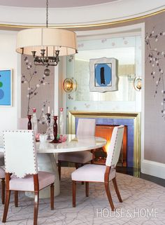 Unique Dining Room Design | Bold furnishings, exuberant colour and clever architecture make up this beautiful home designed by Katherine Newman. Learn how artfully layered patterns and textures lend a playful but sophisticated feel that's perfect for a family with children: http://houseandhome.com/tv/segment/how-decorate-colour-and-pattern