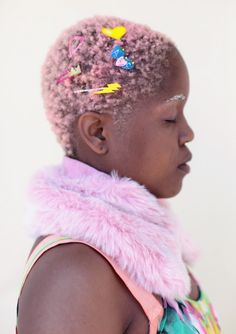 Love her short pink Cotton Candy hair