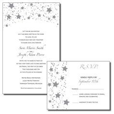 Print Your Own Wedding Invitations - Black and Silver Stars -Wish Upon A Star Theme - Available as PDF or JPG by SaraPriceDesigns, $25.00