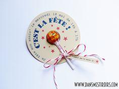 Invitation anniversaire fille bonbons et sucettes faite par www.dansmestiroirs.com