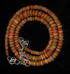 """53 Crts 1 Necklace 2to7mm 17"""" Beads Natural Ethiopian Welo Fire  Opal  63204"""