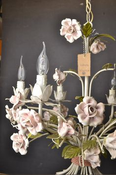 Rose tole chandelier (for sale on Etsy)  Stunning large tole flower chandelier with by LievreVintage, €500.00
