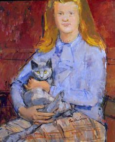 Cats in Art and Illustration: Ruskin Spear RA - - Girl with Cat - Oil on board Crazy Cat Lady, Crazy Cats, She And Her Cat, Royal College Of Art, Collaborative Art, Cool Cats, Traditional Art, Cat Art, Art Girl