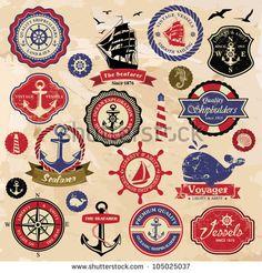 Collection of vintage retro nautical labels, badges and icons Retro Vintage, Vintage Nautical, Vintage Fur, Vintage Labels, Nautical Design, Nautical Art, Ephemeral Tattoo, Nautique Vintage, Etiquette Vintage