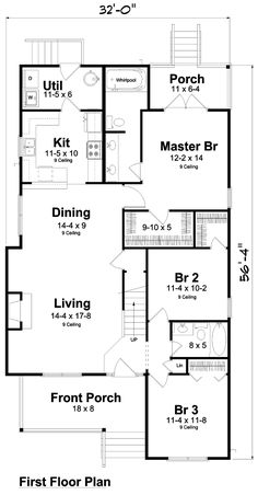 First Floor Plan of Narrow Lot Traditional House Plan 74002