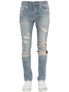 59f92b8c SAINT LAURENT 15CM SUPER DESTROYED STRETCH DENIM JEANS, LIGHT BLUE.  #saintlaurent #cloth #jeans
