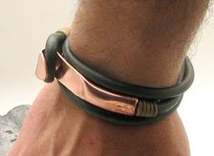 Dark Green Leather Wrap Bracelet with Hand Hammered Copper Clasp