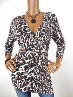 bb6a2468b16 CALVIN KLEIN Womens Top M SEXY Shirt Low Cut Stretch Blouse 3 4 Sleeves  Casual  CalvinKlein  Blouse  Casual