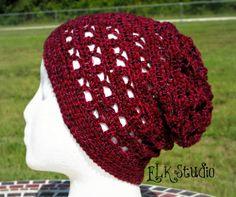 Slouchy beanie free #crochet hat pattern from @ElkStudio_