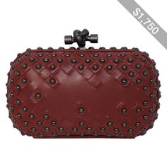 Pre-owned BOTTEGA VENETA gunmetal studded intrecciato leather knot clutch 4d65fe32611c0
