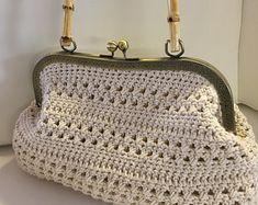 Vintage Style Handmade Crochet Bag Designer Luxury Handbag Retro bag, Made from Crochet Cotton Yarn - Our Fashion Bag Made in Israel