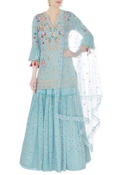 Buy Frost blue embroidered kurta with sharara and dupatta by Monika Nidhii at Aza Fashions Asian Wedding Dress Pakistani, Pakistani Dress Design, Pakistani Dresses, Indian Dresses, Sharara Designs, Kurti Designs Party Wear, Designer Party Wear Dresses, Indian Designer Outfits, Stylish Sarees