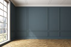 Empty dark gray room interior, window