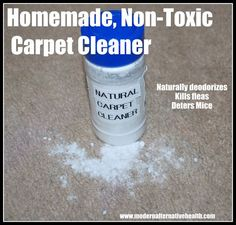 Homemade Non-Toxic Carpet Cleaner   Modern Alternative Health -- Naturally deodorizes, kills fleas and deters mice [we don't have a mouse problem, but fleas love our drive way]