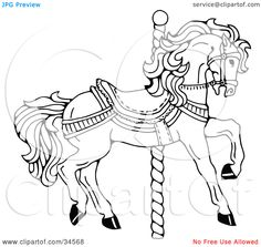 Clipart-Illustration-Of-A-Carousel-Horse-Facing-Right-On-A-Spiral-Pole-102434568.jpg 1,080×1,024 ピクセル