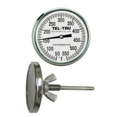 """Tel-Tru BQ225 Barbecue Pit Thermometer, 2 inch dial and 2-1/2 inch stem by Tel-Tru. $26.75. Made in USA. Stainless steel heavy duty construction. Barbecue Pit Thermometer, 50/550°F range, 1/4""""-20 threaded bushing with wing nut. Requires a 1/4"""" diameter hole."""