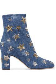 Embellished denim ankle boots