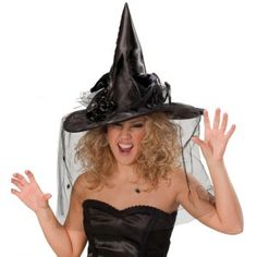 Chapeau sorcière noir luxe avec voilette femme, Halloween, fêtes.