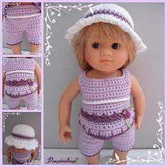 Fiche  crochet pour poupées Wichtel (32cm)  ou tout autres poupées de même gabarit La fiche Poppy comprend : un top, un bermuda et un chapeau. crochet 2 1/2 Le top se crochè - 18719120