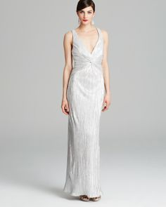 1930s inspired vintage white and silver wedding gown $295