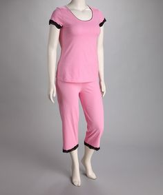 Take a look at this Pink Lace Trim Top & Lounge Pants - Women by Dream On: Women's Sleepwear on #zulily today!