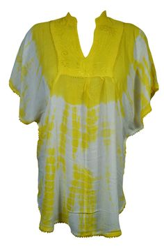 Boho Gypsy Hippy Tie Dye YELLOW Poncho Top Kimono Rayon Cover Up Butterfly Tops #Mogulinterior #Butterfly #Casual