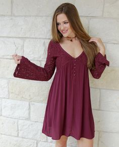 This long sleeve maroon lace detail dress is fit for a Southern Bell. We love…