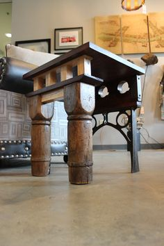 a pair of matching reversible end tables by rogue decor co.  cast iron metal legs are from an antique wash basin base.  birch wood legs are from an antique butcher block.  top is reclaimed poplar.   www.facebook.com/rogue.decor