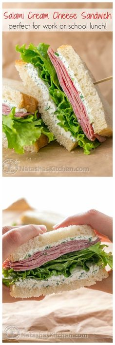 This salami and cream cheese sandwich can be made in advance - Perfect for work or school lunch!   NatashasKitchen.com