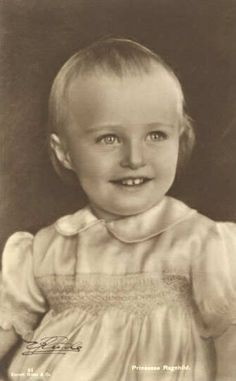 Princess Ragnhild of Norway, 1st child of Crown Prince (later King) Olav and Crown Princess Martha, at about 2 years old.