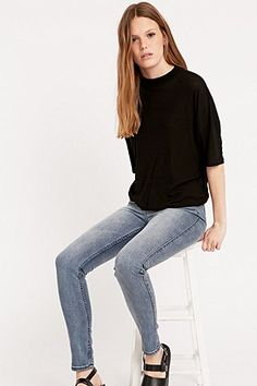 Light Before Dark - Jean skinny taille haute bleu vintage - Urban Outfitters