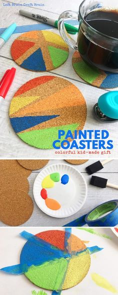 Create these beautiful DIY painted coasters for your Mother's Day gift or Father's Day gift! It's a math art activity for your creative kids that like creating homemade gifts. #STEAM #STEM #art