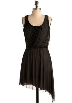 A somewhat younger-looking style. Potentially a little longer, but might be interesting to play with the raggedness & asymmetry? [brown asymmetrical draped grecian party dress from: modcloth]