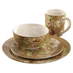 Waverly Tea Dance Dinnerware Set in Café.