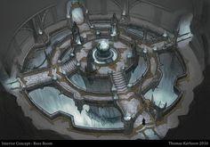 ArtStation - Interior Concept - Boss Room, Thomas Karlsson Concept Art Landscape, Fantasy Concept Art, Fantasy Art Landscapes, Fantasy Landscape, Fantasy Artwork, Fantasy City, Fantasy Castle, Fantasy Places, Fantasy Map