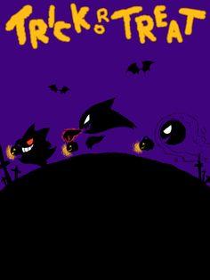 Trick or Treat Pokemon: Gengar, Haunter, and Ghastly. Halloween is soon!