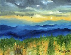 Blue Mountain Sunset by artist Daniel MacGregor, is a signed original oil painting on canvas.  It was painted to provide you the opportunity to enjoy this view everyday in your home or office. Created to add to the splendor of your home decor.  The perfect wall to hang it is where you can see it.  The palette knife creates texture on your one of a kind original fine art painting.  The quality oil paint allows for a lifetime of enjoyment.  Light on the wallet, a perfect buy for Christmas!