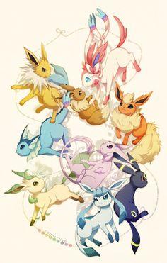 eevee espeon flareon glaceon jolteon kotori_(lycka) leafeon no_humans pokemon pokemon_(creature) simple_background sylveon umbreon vaporeon white_background Ninetales Pokemon, Gif Pokemon, Pokemon Eevee Evolutions, Pokemon Tattoo, Pokemon Fan Art, Pokemon Fusion, All Eeveelutions, Nintendo Pokemon, Eevee Wallpaper