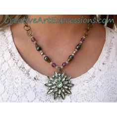 Clearance-Was $25.00 Now $18.00 Creative Art Expressions Handmade Aqua Diamond Flower & Antique Gold Necklace Jewelry Design #ClearanceJewelry