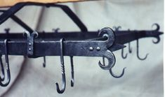 pot hangers wrought iron | Wrought Iron Pot Rack, 2ft. by 3ft. with 24 hooks and stainless mesh ...