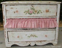 Fix vintage dresser/nighstand with missing drawer with fabric. Perfect for guest room.