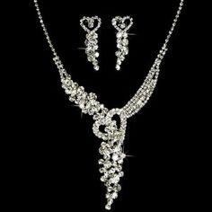 Bridal Wedding Jewelry Set Crystal Rhinestone Sparkle Heart Necklace Silver